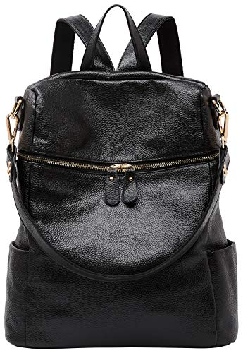 (BOYATU Convertible Genuine Leather Backpack Purse for Women Fashion Travel Bag (Black))