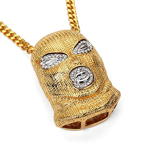 MCSAYS Men's Fashion Goon Ski Mask Pendant Hip Hop Designer Fashion Gifts Iced Out Goldplated Cuban Chain ()