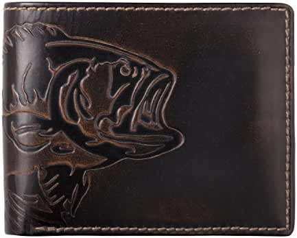 HOJ Co. BASS FISH Double ID Bifold-Hand Burnished-Top Grain Leather-Mens Wallet