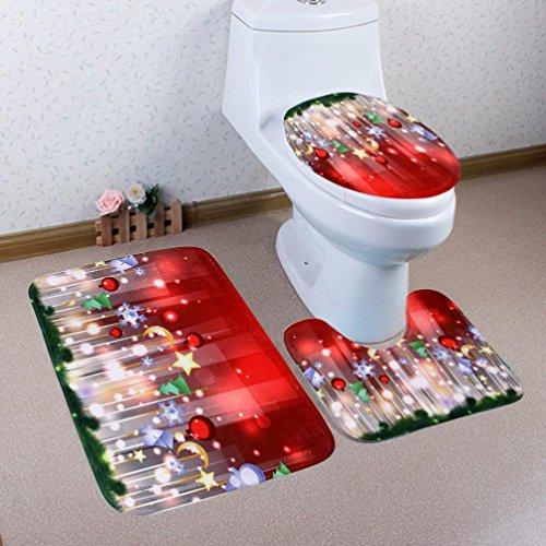 Elaco Toilet Set Cover Wc Seat Cover Bath Mat Holder Christmas Pedestal Rug + Lid Toilet Cover + Bath Mat (E)