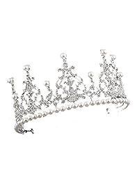 SODIAL(R) 1 silver + white alloy artificial pearl bride crown bride hair ornament size: high 7.5cm