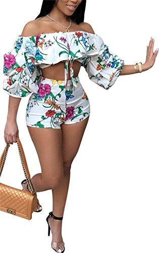 Molisry Women's Off Shoulder Ruffle Floral Print Crop Top Short Pants Jumpsuits 2 Piece Outfits (Suit Piece Pants Two)