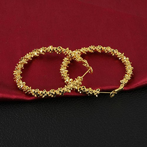 Bangle Gold Earrings 14k - Vintage Earrings for Women, Staron Fashion Irregular Geometric Circle Earrings Elegant Retro Creative Wreath Eardrop (Gold❤️)