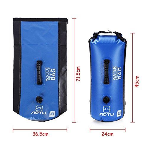 Docooler 30L Outdoor Wasserdichte Packsack Rucksack Tasche für Reisen, Rafting, Boot fahren, Kajak, Kanu, Camping Blau