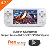 4.3 inch screen 64Bit Handheld Video Game Console Portable Game Console build in 1300 no-repeat game for NEOGOE\CPS\GBA\GBC\GB\SFC\FC\MD\GG\SMS MP3/4 (White)