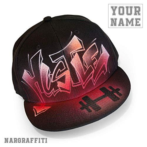 Custom graffiti name painted black flat bill Snapback hat ()