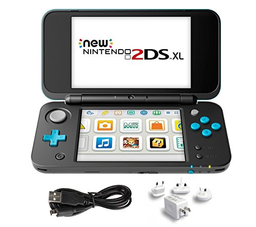 New Nintendo 2Ds Xl 3 Items Bundle  New Nintendo 2Ds Xl   Black   Turquoise Console  Usb Sync Charge Usb Cable And Mytrix Travel Usb Wall Charger
