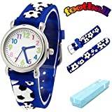 Vinmori Kid's Watch, with 3D Cartoon Soccer Silicone Band Waterproof Quartz Watch Gift for Children(Blue)