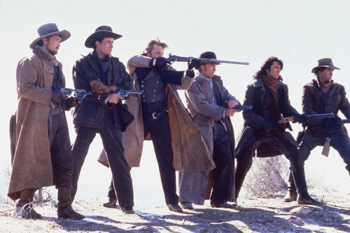 Dermot Mulroney, Lou Diamond Phillips, Charlie Sheen and Kiefer Sutherland in Young Guns 24x36 Poster
