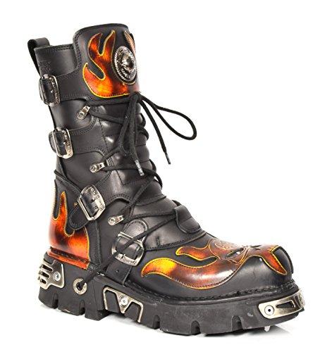 New Rock Leder Knöchel Stiefel Schnürsenkel Flammen Entwurf Schuhe Gothic Retro Stil Schwarz