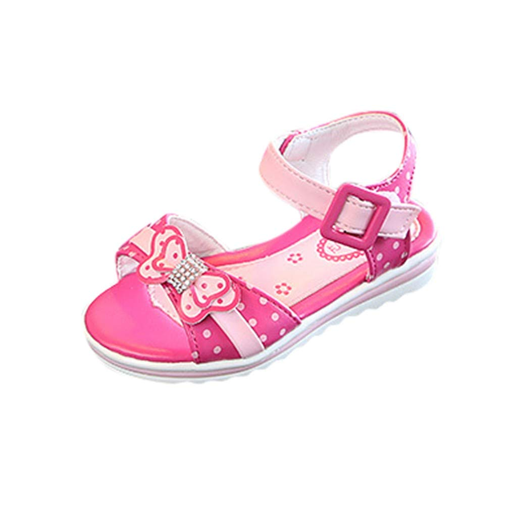 Cloudro Baby Princess Sandals Little Girls Crystal Bowknot Soft Shoes for 4-14 Years