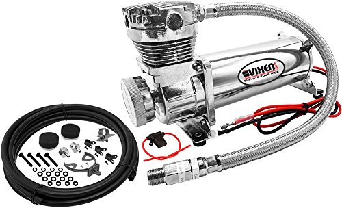 Vixen Air 200 PSI Heavy Duty Suspension/Air Ride/Bag/Train Horn Air Compressor/Pump with 3/8' Stainless Steel Braided Hose, 3/8' NPT Check Valve and Remote Mount Air Filter Kit 12V Chrome VXC480C