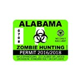 RDW Alabama Zombie Hunting Permit - Color Sticker - Decal - Die Cut