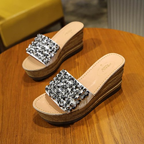 hunpta Women Fashion Solid Color Crystal Thick Bottom Flatform Shoes Sandals White BTyN39Dw