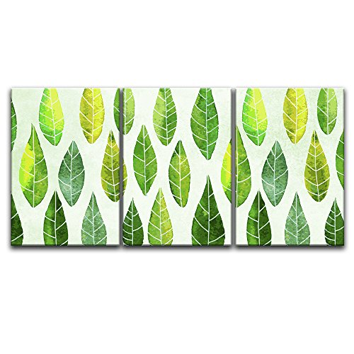 3 Panel Watercolor Style Leaves Pattern Gallery x 3 Panels