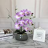Romantic Lifelike Silk Orchid with Decorative Ceramic Vase,Large Vivid Artificial Flower Arrangement,Potted Orchid Plant,Lavender