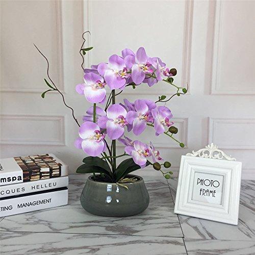 Orchid Box - Romantic Lifelike Silk Orchid with Decorative Ceramic Vase,Large Vivid Artificial Flower Arrangement,Potted Orchid Plant,Lavender