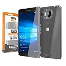 Orzly® - FlexiCase for Microsoft LUMIA 950 XL (Large Size 2015 Model / Phablet Version) - 100% Clear Protective Flexible Silicon Gel Phone Case - 100% TRANSPARENT
