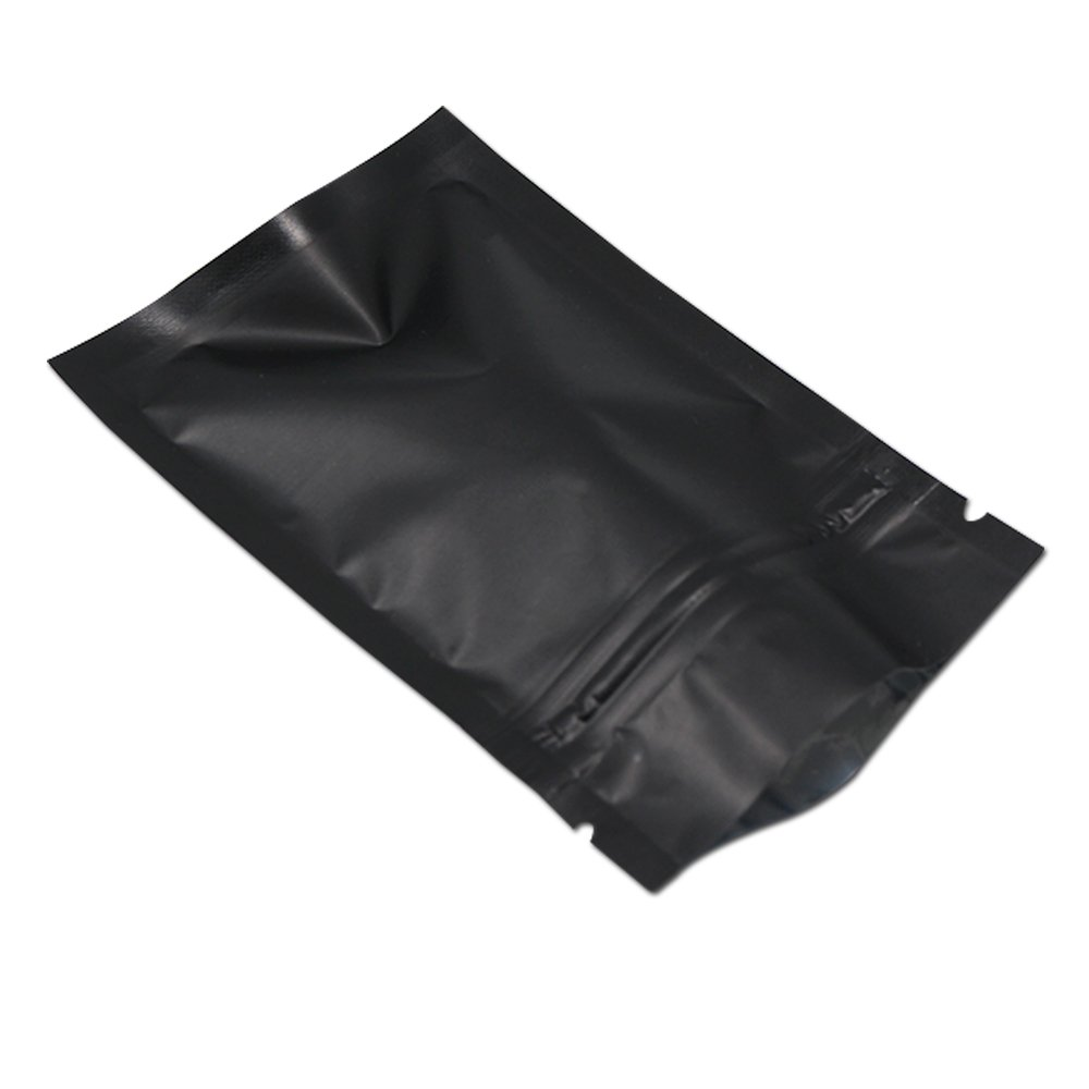 "100Pcs Ziplock Aluminum Foil Package Bag Self Seal Flat Pouch Coffee Powder Tea Storage Mylar Bags Smell Proof Heat Sealable Wedding Favor Candy Pouch (3.1x4.7 inch, Matte Black)(Inner Size 2.8""x3.5"")"