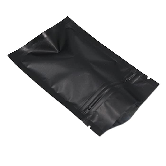 """100Pcs Ziplock Aluminum Foil Package Bag Self Seal Flat Pouch Coffee Powder Tea Storage Mylar Bags Smell Proof Heat Sealable Wedding Favor Candy Pouch (3.1x4.7 inch, Matte Black)(Inner Size 2.8""""x3.5"""")"""