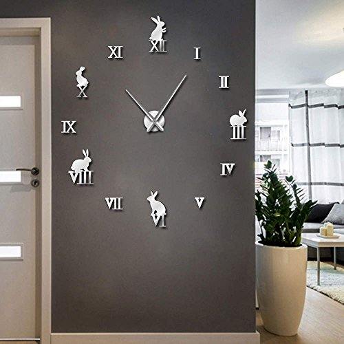(The Geeky Days Rabbit with Roman Numerals DIY Large Wall Clock Animals Home Decor Frameless Wall Clock Mirror Effect Bunny Children Clock Gift (Silver))