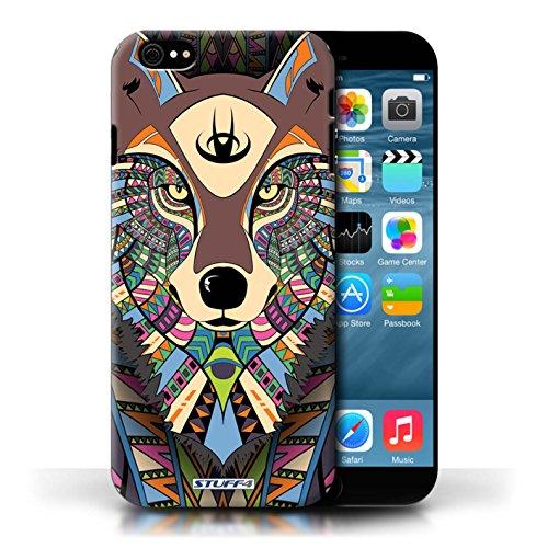Etui / Coque pour Apple iPhone 6/6S / Loup-Couleur conception / Collection de Motif Animaux Aztec