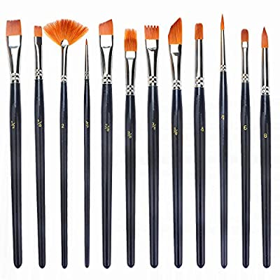 Soucolor Paint Brush Set Round Pointed Tip Nylon Hair artist acrylic brush Watercolor Oil Painting (black 12pcs) from Soucolor