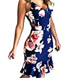 Yaseking Women's Party Dress, Sexy Print Sleeveless Slim Hole Camisole Mini Dress Summer Dress (S, Blue)