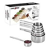 Sainless Steel Stackable Measuring Cups Set of 7 - Sturdy Nesting Cups Quality Cooking Baking Measure Cups Coffee Teaspoons for Dry or Liquid Ingredients