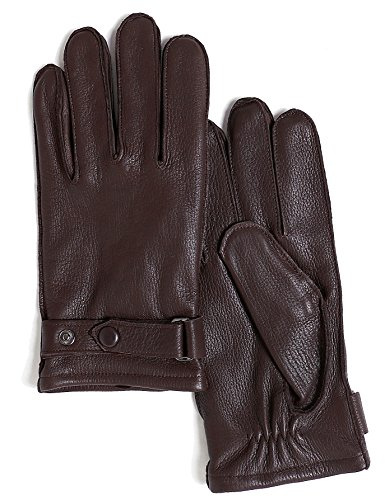 YISEVEN Men's Deerskin Leather Gloves with Classical Belt Button Real Natural Hand Warm Fur Wool Lined Heated Lining Winter Dress Driving Motorcycle Work Luxury Xmas Gift, Brown 9.0