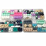 Amyster 4pc DIY Baby Teether Accessories Geometry Hexagonal Round Silicone Bead Wooden Bead And Crochet bead Pacifier Clips For Bracelet (A187A191A193A194)