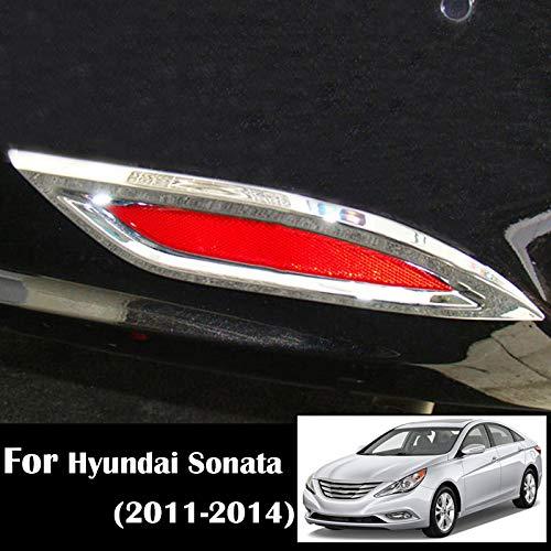 For Hyundai Sonata i45 YF 2011 2012 2013 2014 Chrome Rear Tail Fog Light Foglight Lamp Cover Trim Reflector Bumper Frame Bezel Molding Garnish Surround Protector Decoration Car Styling