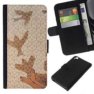 KLONGSHOP // Tirón de la caja Cartera de cuero con ranuras para tarjetas - Significado Profundo Metáfora del cabrito del niño - HTC Desire 820 //