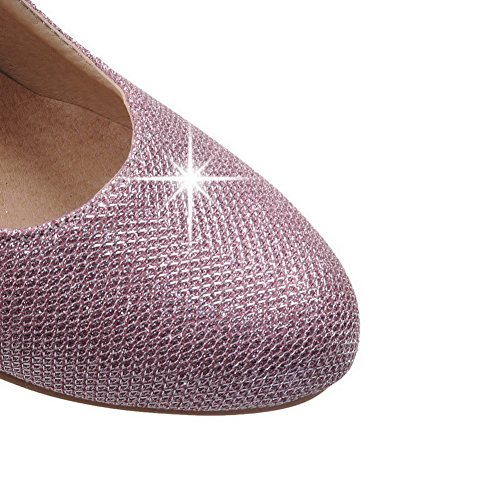 AllhqFashion Damen Weiches Material Ziehen auf Rund Zehe Mittler Absatz Rein Pumps Schuhe Pink