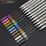 #8: Premium Metallic Art Marker Pens, (Fine Tip), for DIY Easter Egg, Photo Album Drawing Gift Card, Rock Painting, Adult Coloring Books, Glass, Metal, Pottery, Wood Surface, Black Paper, 12/ Set