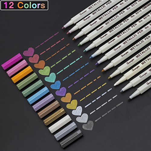 Metallic Markers Pens, Permanent Fine Tip Metal Art Paint Marker, Mother's Day Gift, for DIY Photo Album Drawing, Rock Painting, Adult Coloring Books, Glass, Pottery, Wood, Black (Glass Painting Book)