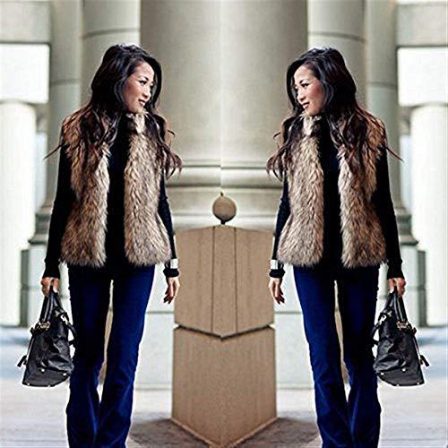 Pelliccia Lanuginoso Stlie Forti Autunno Invernali Vita Libero Braun Vintage Grazioso Alta Eleganti Di Outerwear Sintetica Gilet Fashion Taglie Tempo Sleeveless Canottiera Donna 5RpwqTnxF