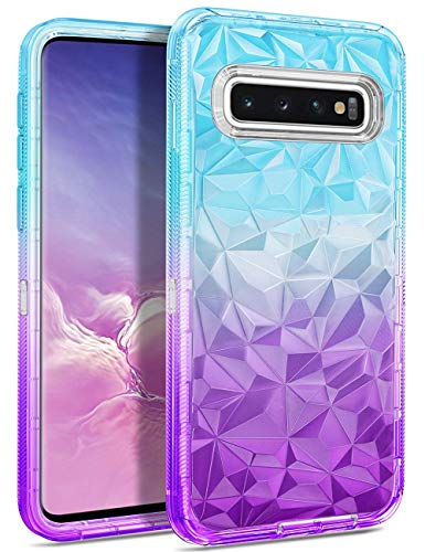 (WESADN Case for Galaxy S10 Plus Case,Clear Protective Gradient 3D Diamond Design for Girls Women Heavy Duty Shockproof Hard PC Dustproof Soft TPU Cover for Samsung Galaxy S10 Plus, Teal Purple)
