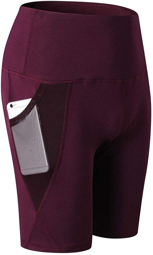 SOUTHSKY Women's Yoga Shorts with High-Waist Tummy Control Workout Running Stretching Yoga Pants with Pockets (M) Wine Red