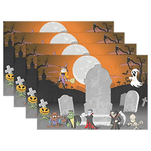 WIHVE Placemats Wipeable Dining Halloween Witch Ghost Skull Table Mat Rectangle Polyester Washable Insulation Non-slip Kitchen Placemat Set of (Diy Halloween Placemats)
