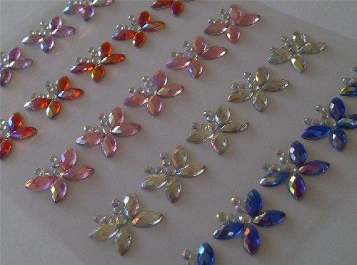 CraftbuddyUS 25 x 15mm MIXED AB Stick On Diamante BUTTERFLY Gems Self Adhesive Rhinestones Stickers