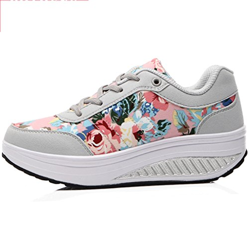 Orlancy up Leather Grey Shoes Sports Walking Lace Women's Fashion Shoes Platform Sneakers 6 Fitness rEqX7r