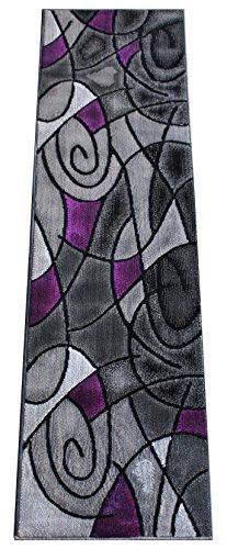 Masada Rugs, Modern Contemporary Runner Area Rug, Purple Grey Black (2 Feet X 7 Feet)