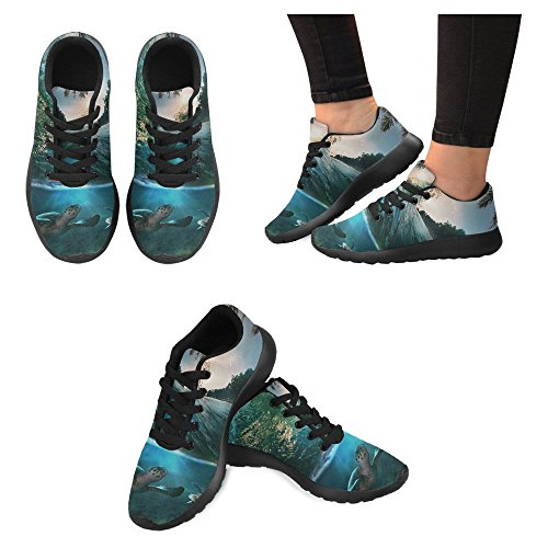 InterestPrint Womens Jogging Running Sneaker Lightweight Go Easy Walking Casual Comfort Running Shoes Watercolor Painting White Flowers and Soft Green Leaves Multi 1 Haixq4TDP