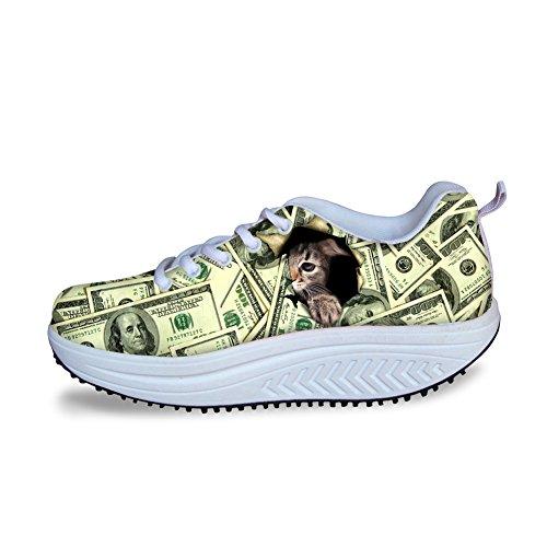 Knuffels Idee Schattig Dames Platform Fitness Blauw Sneakers Geld 3