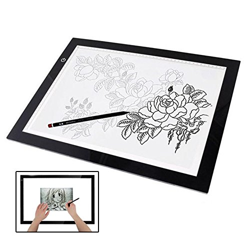 Novelty LED Lighting Pad Artist Drawing Board Line Art Creation Accessory USB Power Source for Animation Sketching Fashion Design Architecture Calligraphy Stenciling Diamond Painting Idea Gift etc. by iGrove