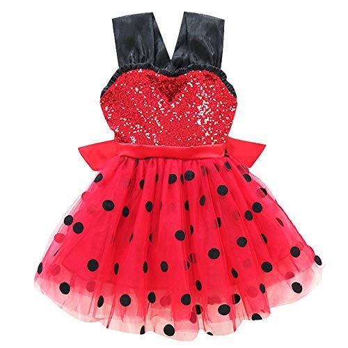 Baihui Girls Cosplay Costume Ladybug Sequin Dress