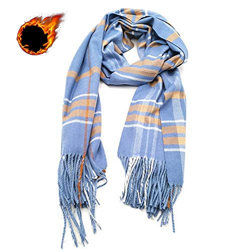 Winter Scarf for Women Men, Thick Shawl Wrap, Ideal Gift, Large 80x27.5inch, 12-Color (Blue)