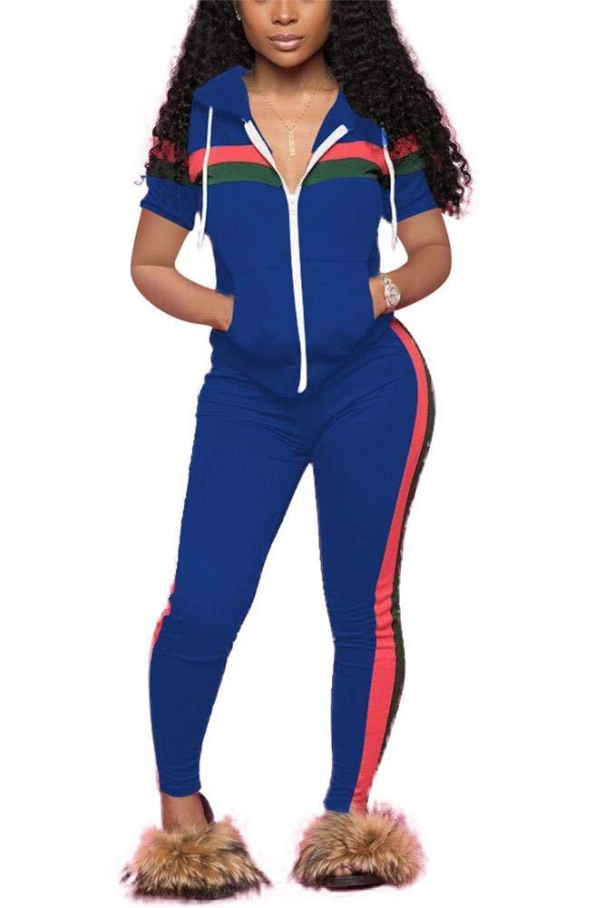 LKOUS Women Short Sleeve Striped Print 2 Pieces Outfits Sweatshirt Skinny Pants Jumpsuit Sport Sweatsuit Fall by LKOUS