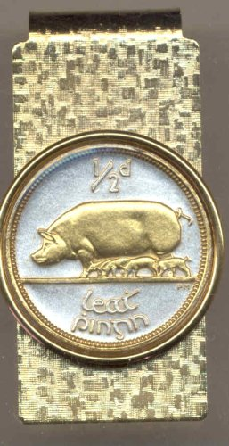 clips Money Toned 2 Pig on Gold amp; Coin Gorgeous Silver Irish piglets TAxwvwqP